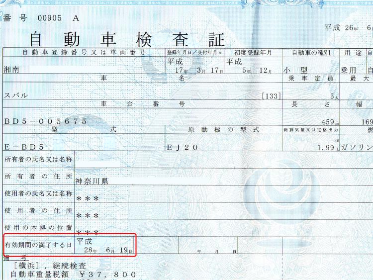 車検証の記載例
